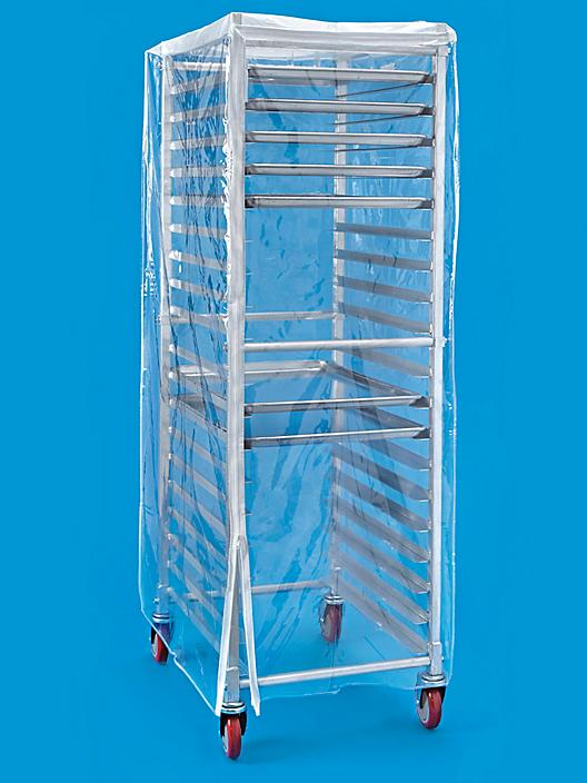 """Mobile Pan Rack Cover - 24 x 28 x 62"""", Clear Vinyl S-21386"""