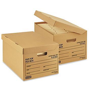 """Flip-Top Storage File Boxes - 15 x 12 x 10"""", Kraft S-21531"""