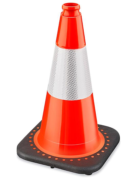 "Heavy Duty Reflective Traffic Cones - 18"", Orange S-21633O"