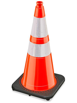 "Heavy Duty Reflective Traffic Cones - 28"""