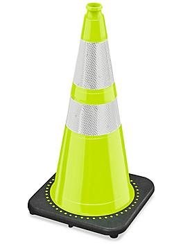 """Heavy Duty Reflective Traffic Cones - 28"""", Lime S-21634LIME"""