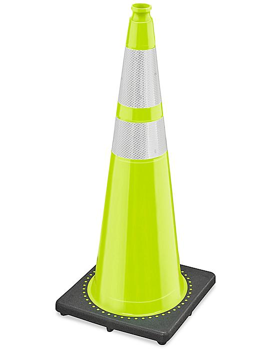 """Heavy Duty Reflective Traffic Cones - 36"""", Lime S-21635LIME"""