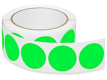 """Removable Adhesive Circle Labels - Fluorescent Green, 1 1/2"""" S-21646G"""