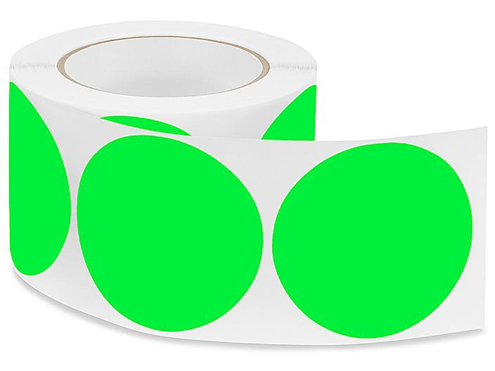 """Removable Adhesive Circle Labels - Fluorescent Green, 3"""" S-21647G"""