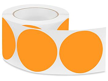 """Removable Adhesive Circle Labels - Fluorescent Orange, 3"""" S-21647O"""
