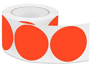 """Removable Adhesive Circle Labels - Fluorescent Red, 3"""" S-21647R"""