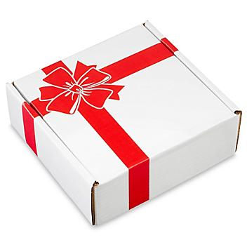 """Holiday Mailer - 8 x 8 x 3"""", Red Bow S-21666BOW"""