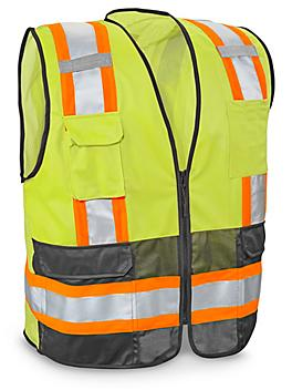 Class 2 Deluxe Hi-Vis Safety Vest with Pockets - Lime, 4XL/5XL S-21676G-4X
