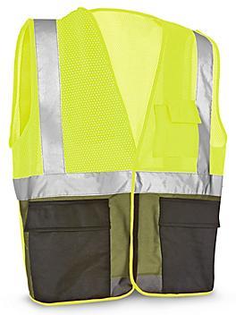 Class 2 Black Bottom Hi-Vis Safety Vest with Pockets - Lime, 2XL/3XL S-21681G-2X