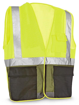Class 2 Black Bottom Hi-Vis Safety Vest with Pockets - Lime, L/XL S-21681G-L