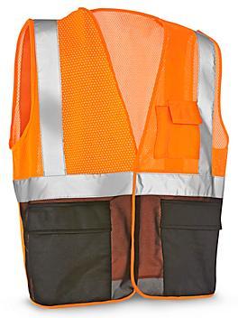 Class 2 Black Bottom Hi-Vis Safety Vest with Pockets - Orange, S/M S-21681O-S