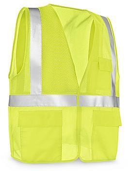 Class 2 Standard Hi-Vis Safety Vest with Pockets - Lime, L/XL S-21682G-L