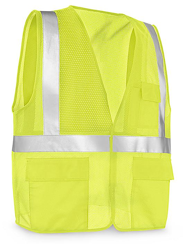 Class 2 Standard Hi-Vis Safety Vest with Pockets - Lime, S/M S-21682G-S