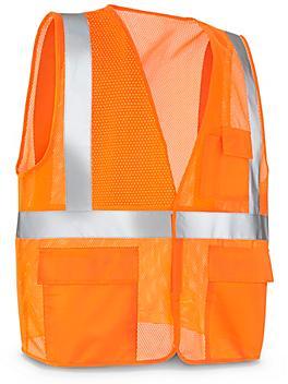 Class 2 Standard Hi-Vis Safety Vest with Pockets - Orange, 4XL/5XL S-21682O-4X