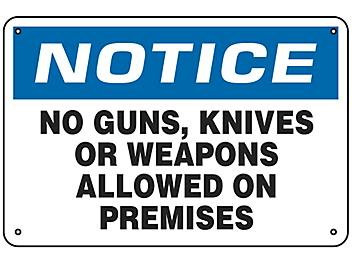 """""""No Weapons Allowed On Premises"""" Sign - Aluminum S-21754A"""