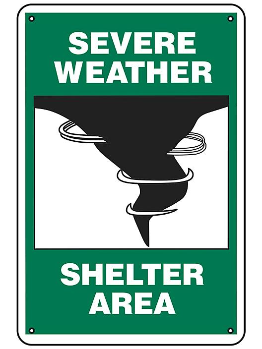 """""""Severe Weather Shelter Area"""" Sign - Aluminum S-21755A"""