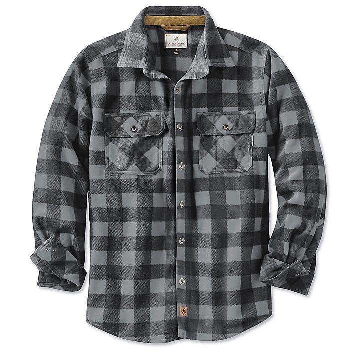Men's Plaid Fleece Shirt - Graphite, XL S-21820GR-X