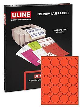 "Uline Circle Laser Labels - Fluorescent Red, 2"" S-21848R"