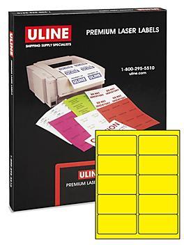 """Uline True Color Laser Labels - Yellow, 4 x 2"""" S-21852Y"""