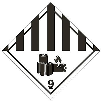 """D.O.T. Labels - Lithium Battery, 4 x 4"""" S-22082"""