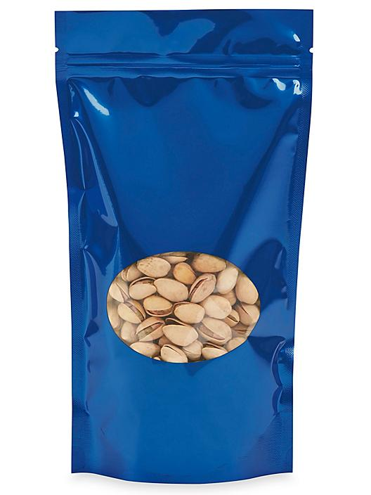 """Glossy Stand-Up Barrier Pouches with Window - 6 x 11 x 3"""", Blue S-22244BLU"""