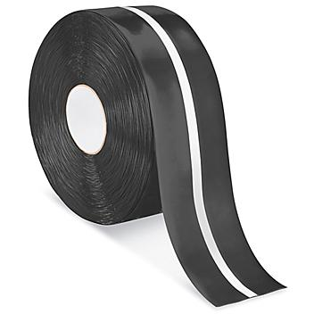 """Mighty Line® Deluxe Center Stripe Safety Tape - 4"""" x 100', Black/White S-22294B/W"""