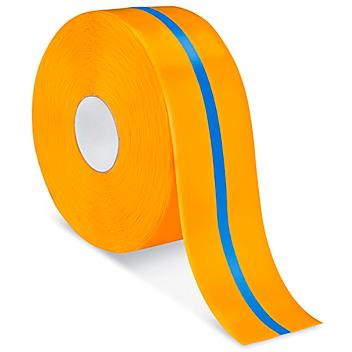 """Mighty Line® Deluxe Center Stripe Safety Tape - 4"""" x 100', Orange/Blue S-22294O/B"""