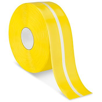 """Mighty Line® Deluxe Center Stripe Safety Tape - 4"""" x 100', Yellow/Glow S-22296Y"""