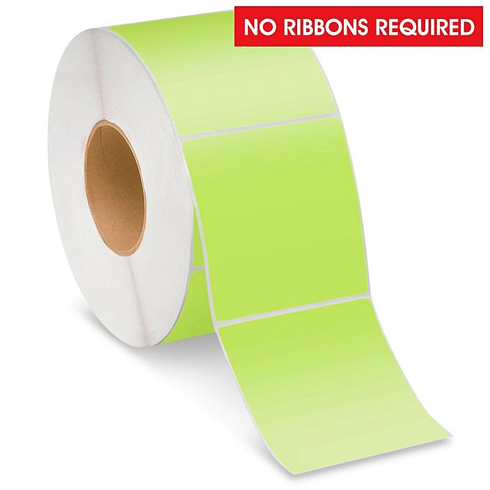 """Industrial Direct Thermal Labels - Green, 4 x 4"""" S-22390G"""