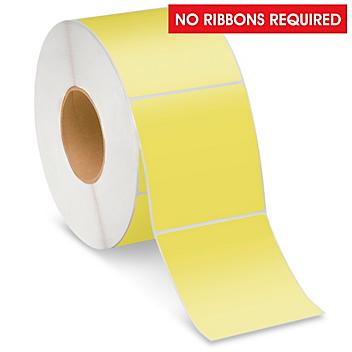 """Industrial Direct Thermal Labels - Yellow, 4 x 4"""" S-22390Y"""