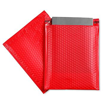 """Uline Economy Colored Poly Bubble Mailers #2 - 8 1/2 x 12"""", Red S-22403R"""