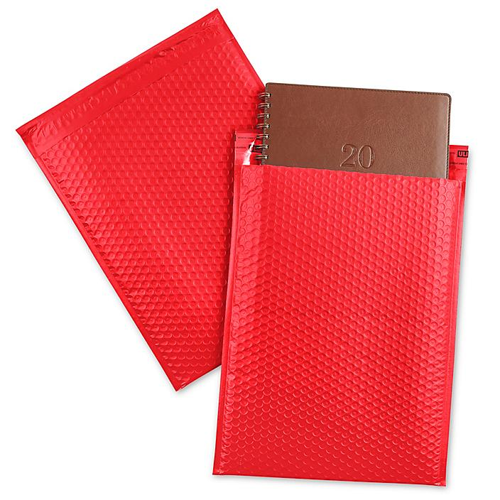 """Uline Economy Colored Poly Bubble Mailers #5 - 10 1/2 x 16"""", Red S-22404R"""