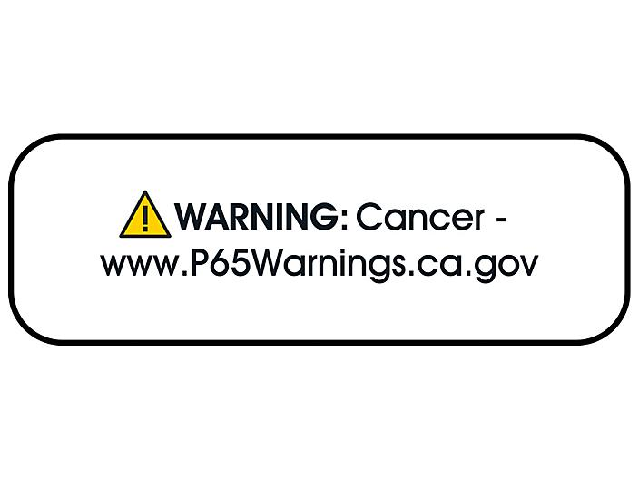 """California Prop 65 Labels - """"Warning: Cancer"""", 1 1/2 x 1/2"""" S-22724"""
