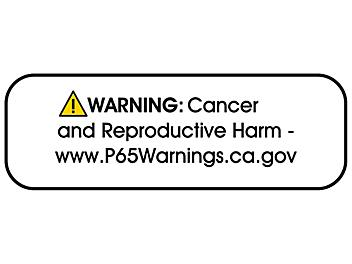 """California Prop 65 Labels - """"Warning: Cancer and Reproductive Harm"""", 1 1/2 x 1/2"""" S-22726"""