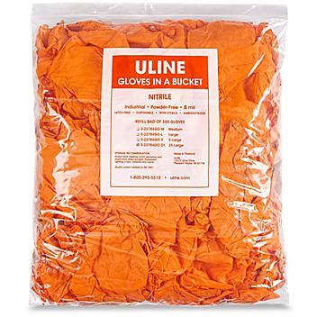 Uline Secure Grip™ Nitrile Gloves in a Bucket Refill Bag - Orange, 2XL S-22784GO-2X