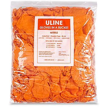 Uline Secure Grip™ Nitrile Gloves in a Bucket Refill Bag - Orange, XL S-22784GO-X