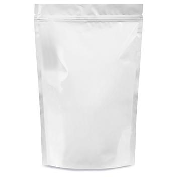 """Glossy Stand-Up Barrier Pouches - 9 x 13 1/2 x 4 3/4"""", White S-22819W"""
