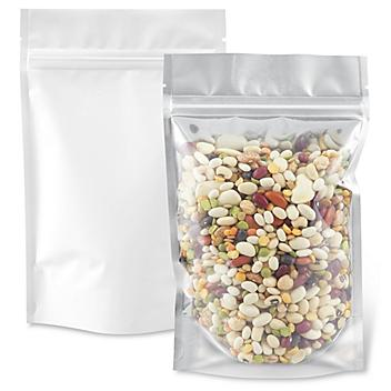 """Matte Stand-Up Barrier Pouches - 5 x 8 x 2 1/2"""", White Back S-22821WB"""
