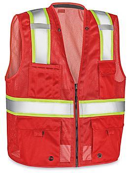 Colored Hi-Vis Safety Vest - Red, L/XL S-22908R-L