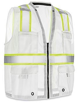 Colored Hi-Vis Safety Vest - White, S/M S-22908W-S