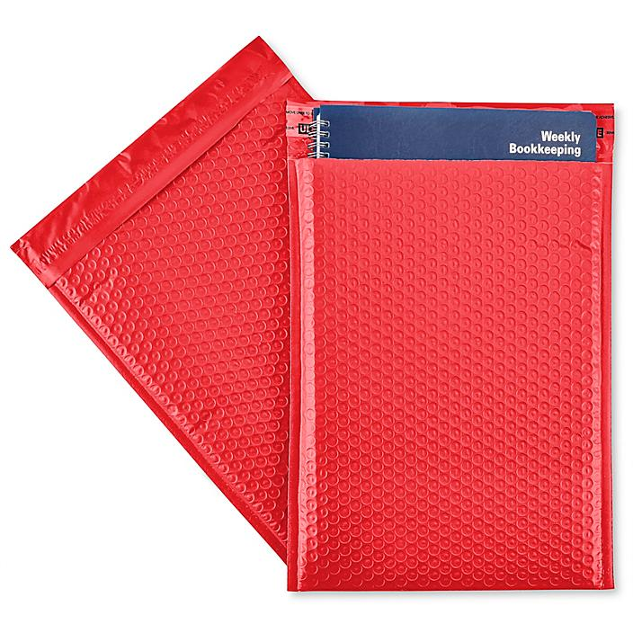 """Uline Economy Colored Poly Bubble Mailers #4 - 9 1/2 x 14 1/2"""", Red S-22944R"""