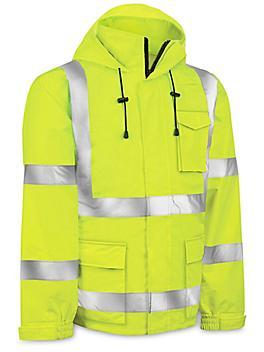 Class 3 Hi-Vis Lightweight Rain Jacket - Lime, 2XL S-22970G-2X