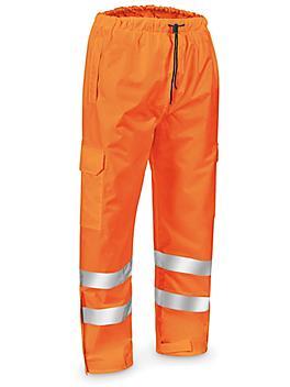 Class 3 Hi-Vis Lightweight Rain Pants - Orange, Large S-22971O-L