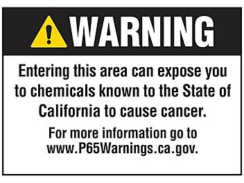 """""""Cancer"""" Prop 65 Sign - Vinyl, Adhesive-Backed S-22974V"""