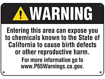 """Reproductive Harm"" Prop 65 Sign - Plastic S-22975P"