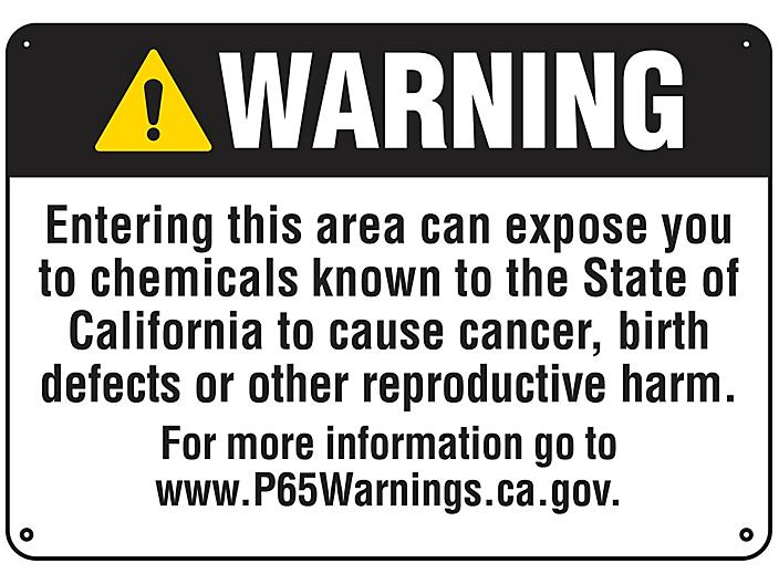 """""""Cancer/Reproductive Harm"""" Prop 65 Sign - Plastic S-22976P"""
