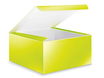 """Glossy Gift Boxes - 8 x 8 x 4"""", Lime Green S-23008LIME"""