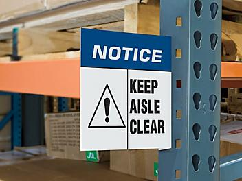 """Magnetic Aisle Sign - """"Keep Aisle Clear"""" S-23033"""