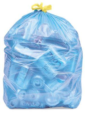 Blue Uline Drawstring Recycling Trash Liners - 13 Gallon