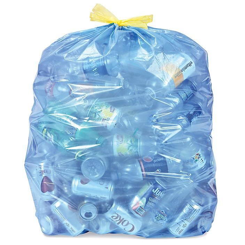Blue Uline Drawstring Recycling Trash Liners - 33 Gallon S-23037